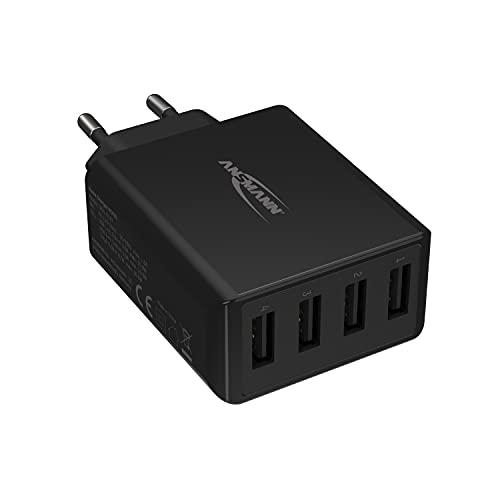 ANSMANN 4-Port USB Charger 30 W - USB Ladegerät mit intelligenter Ladesteuerung für Smartphone, Tablet, GoPro, e-Book Reader, etc.