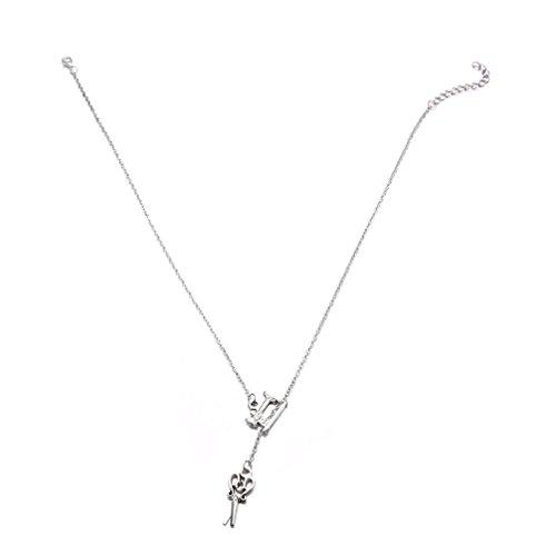 Toporchid Gargantilla de plata retro tallado hueco collar de simulación tijeras colgante collar cadena clavícula