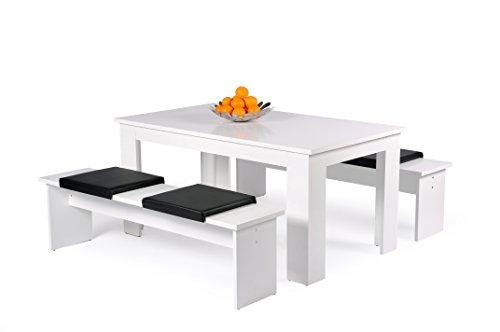 AVANTI TRENDSTORE - Munich - Set con Tavolo e 2 panche per la Sala da Pranzo. Disponibile in 2 Diverse colorazioni. I Cuscini di Seduta Non Sono compresi. (Bianco)