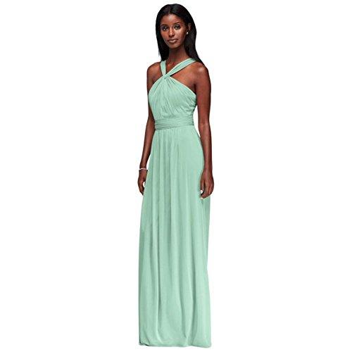 David's Bridal Y-Neck Long Mesh Bridesmaid Dress Style W11173, Mint, 20