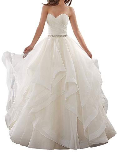 BellaBridal Women's Organza Ruffles Wedding Ball Gown Long Backless Wedding Dresses Bride Dress 017 Ivory