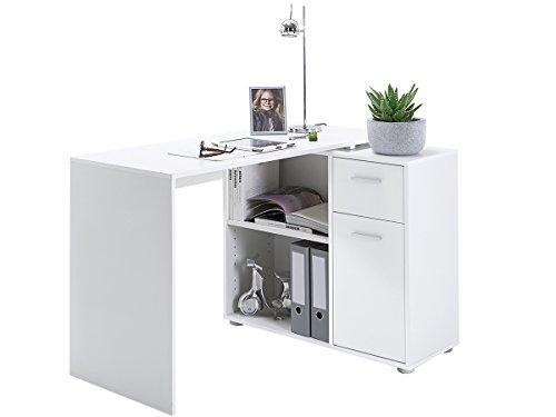 möbelando Schreibtischkombination Schreibtisch Eckschreibtisch Arbeitstisch Carmen (Weiß)