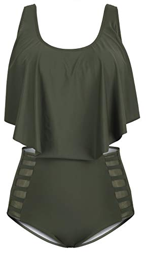 Sovoyontee Women High Waisted Swimsuit Army Green 3XLarge 18