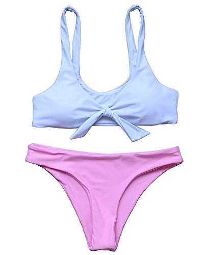 Hotexy Women's Bikini Set Swimsuit Tie Knot Front High Waisted Push Up Color Block Swimwear