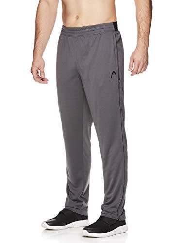 HEAD Men's Running Pants - Performance Jogging Workout & Training Sweatpants w/Zippered Pockets - Lead Iron Gate, Small