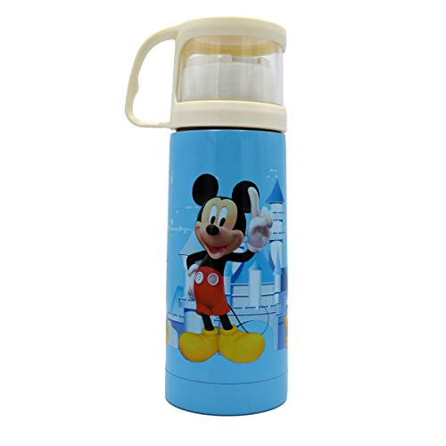 Baby Bucket Cartoon Prints Cute Stainless Steel Milk Cup Thermos Flask Insulated Mug Portable Leak Proof – 350ML-(Blue)