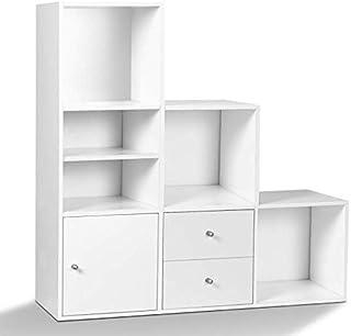IDMarket - Meuble de Rangement en escalier Liam 3 Niveaux Bois Blanc avec Porte et tiroirs