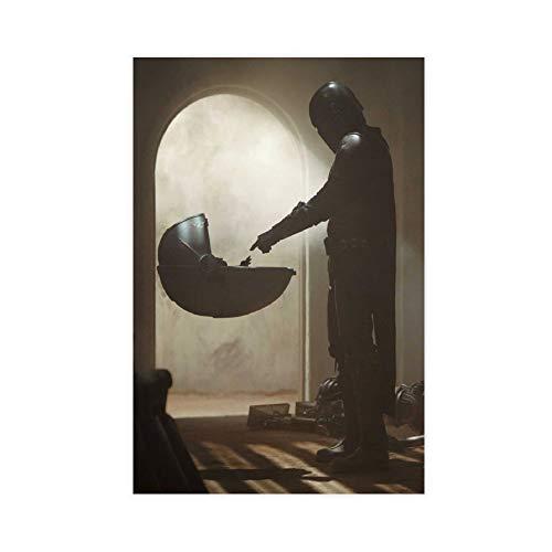 Póster de Star Wa-rs Mandalorian Touching Baby Yoda, lienzo para decoración de pared, pintura para sala de estar, dormitorio, 30 x 45 cm, estilo Unframe-1