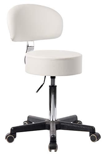 1stuff® Profi Rollhocker Rollstuhl Squash - 35cm Sitzbreite - bis 180kg* - Sitzhöhe bis ca. 73cm - Arzthocker Arbeitshocker Bürohocker Drehhocker (Lederimitat weiß - Lehne Bigback 1)
