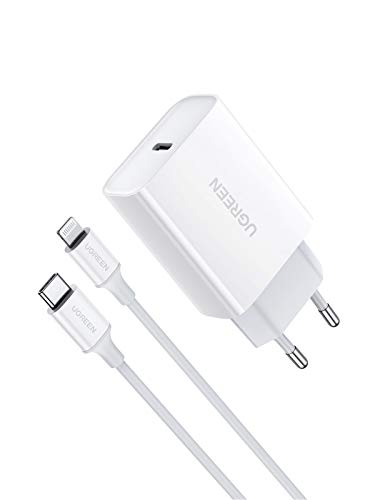 UGREEN Caricatore PD con Cavo USB C a Lightning (MFI) Power Delivery 3.0 Caricabatterie USB C Ricarica Rapida Compatible with iPhone 12 11 PRO Max XS Max XR X 8 iPad PRO 2018 iPad Air 2019