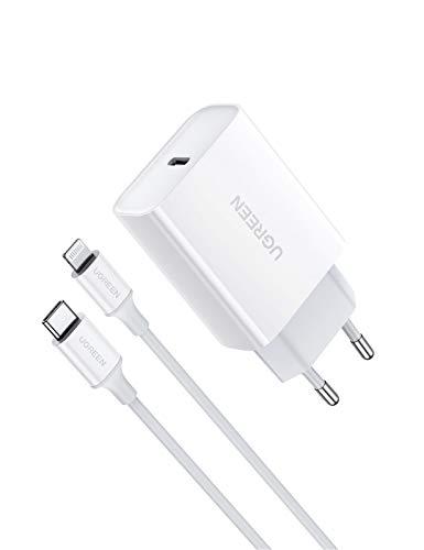 UGREEN 18W Cargador USB C Power Delivery 3.0, Tipo C Cargador de Carga Rapida QC4.0/ QC 3.0 Compatible para iPhone 12, 12 Pro, SE 2020, 11, 11 Pro, 11 Pro Max, X, XR, 8, iPad Pro y Xiaomi Redmi Note 8