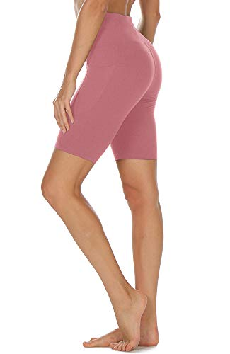 icyzone Pantalón Corto para Mujer para Deportivo Yoga, Mallas Corto (XL, Cameo Pink)