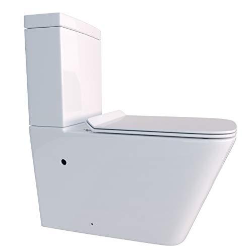 KERABAD Randlose Stand-WC Kombination Spülkasten WC-Sitz aus Duroplast Absenkautomatik SoftClose-Funktion für waagerechten und senkrechten Abgang Spülrandlos KB6003-R