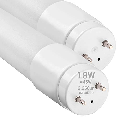 2x Tubi LED 120cm G13 T8 18W Professionale Alta Efficienza Garanzia 5 Anni 2250 lumen - Luce Bianco Naturale 4000K - Fascio Luminoso 160° - Sostituzione Neon