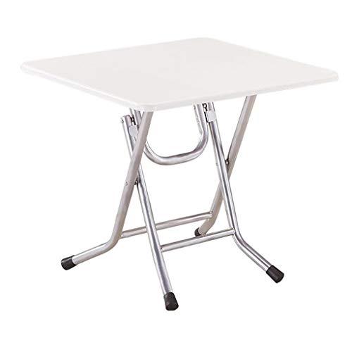 HBJP Mesa Plegable para el hogar o al Aire Libre, Cuadrada, Simple, portátil, 4 Personas, pequeña Mesa de balcón Plegable, Blanco, 70×55cm
