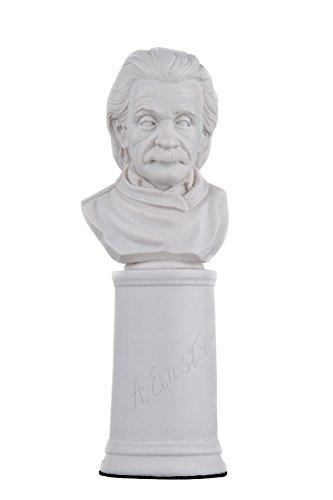 Tysk fysiker forskare Albert Einstein marmor byst staty skulptur figurin 16,5 cm vit