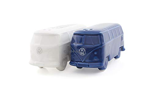 BRISA VW Collection Volkswagen T1 Bus Transporter 3D Zout & Peper Shakers - Wit/Blauw