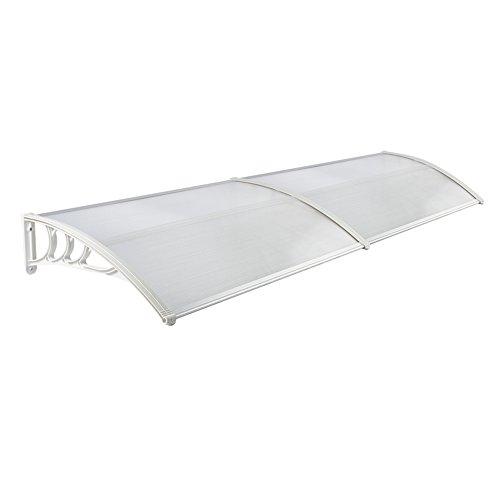 LZQ Pensilina Tettoia per Porta Balcone Esterno Tenda da Veranda Pensilina Alveolare in Policarbonato Trasparente Bianco 200 x 100cm