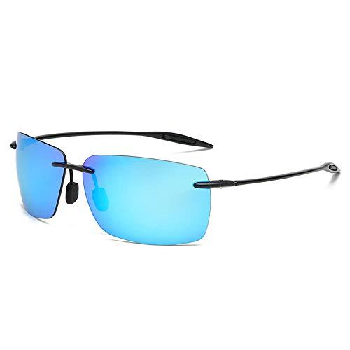 Gafas de sol para hombre Gafas de sol polarizadas sin montura Gafas de sol para conducir Gafas de sol para pesca al aire libre-Negro brillante Azul hielo a prueba de explosiones