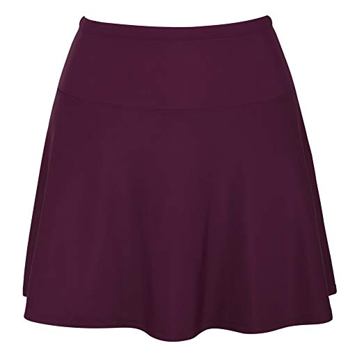 Hilor Women's High Waisted Swim Bottom Athletic Swimsuits Tankini Skirt with Panty Burgundy 20