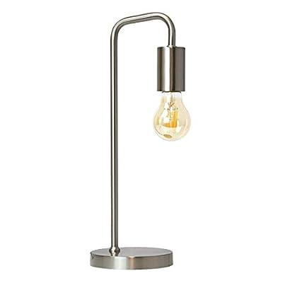 O'Bright Industrial Desk Lamp, 100% Metal Lamp, UL Certified Ceramic E26 Socket, Minimalist Design for Home Decoration, Table Lamp for Bedroom/Office/Dorm, ETL Listed, Silver