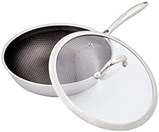 11-Inch Wok Tri-Ply Stainless Steel Non Stick FDA Approved With Tempered Glass Lid