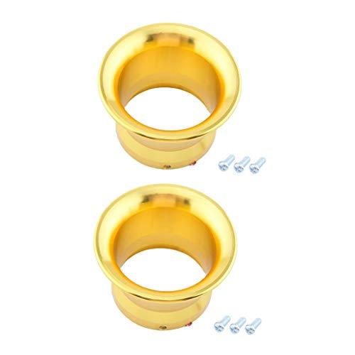 perfk 2X Gelb 50mm Luftfilter Ansaugtrichter Aluminium Trichter für PWK24/ PWK26/ PWK28/ PWK30 Vergaser