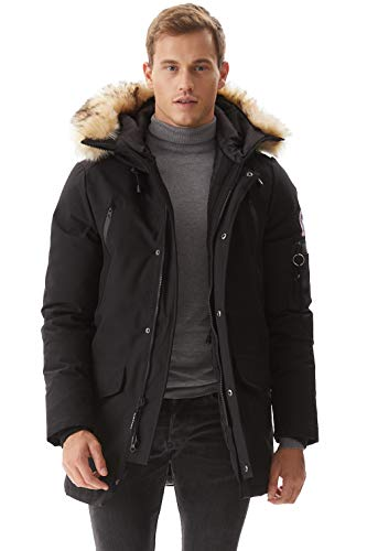 Molemsx Down Coat Men, Men's Warm Parka Puffer Jacket Outdoor Ski Jacket for Cold Weather Winter Down Jacket with Hood Faux-Fur Trim Padded Soft Shell Snowboarding Coats Black Medium
