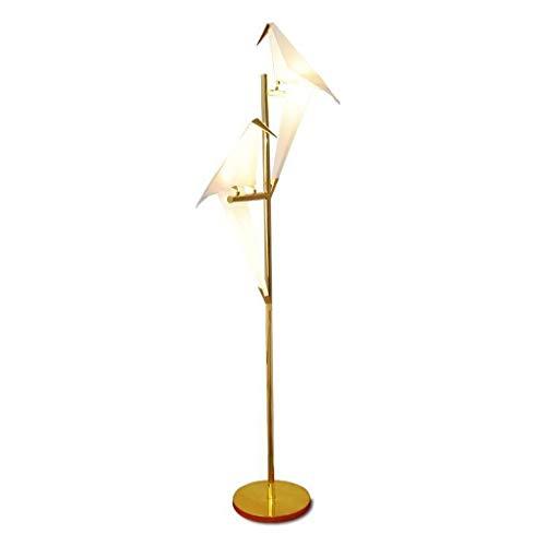 Lámpara de pie Bird Art Deco Papel Lámpara de pie Recamara Vida de la lámpara Sala for Origami Estudio Luz Mesita de luz de lectura lámpara de planta Gold lámpara de lectura (tamaño : B)