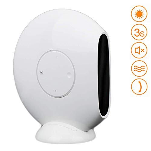 Pkfinrd Keramische ventilatorkachel, plat, 1200 W, instelbare 3 warme natuurlijke luiers voor de kleine vloer, bureau thuis of in de kamer