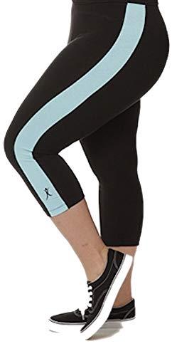 A BIG ATTITUDE Capri-Leggings für Damen in Übergröße, für Laufen, Yoga, Fitness, hergestellt in Kalifornien Gr. XL, schwarz/türkis