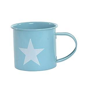 Taza/Mug de Desayuno realizada en Metal, con Dibujos de Estrella, de 360 ml. Diseño Industrial, con Estilo Vintage - Hogar y Más - Azul Claro