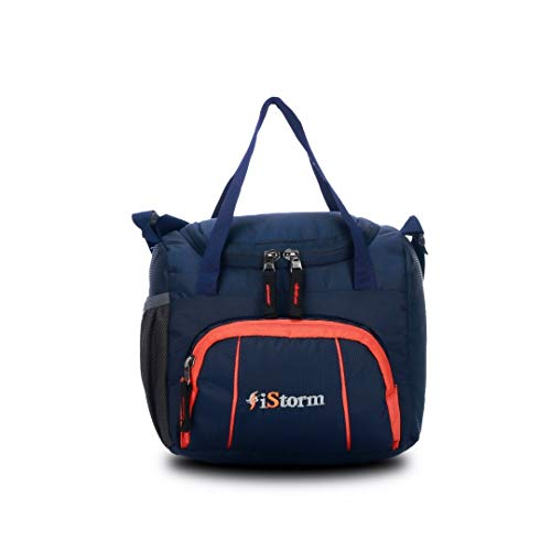iStorm Spice Lunch Carry Bag Navy & Orange Zip Lunch Bag for Office Men, Women and Kids, Quality Tiffin Bag for School, Picnic, Work, Carry Bag for Lunch Box