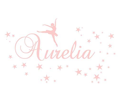 Wandtattoo Kinderzimmer Wand Aufkleber Ballerina Tänzerin mit Namen und 40 Sterne Mädchen