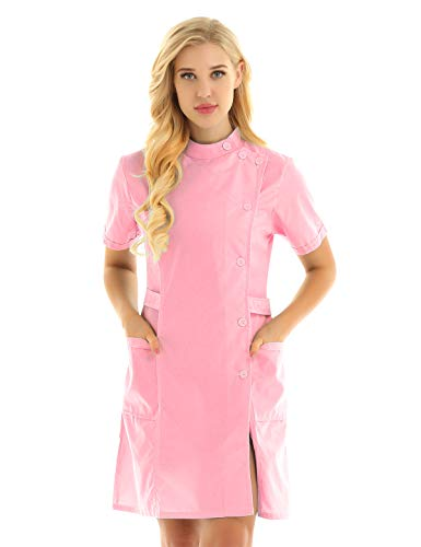 Alvivi Damen Ärztin Krankenschwester Kostüm Doktor Arztin Minikleid Arztkittel Labormantel Cosplay Fasching Karneval Verkleidung Rosa XL