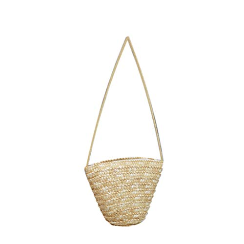 TENDYCOCO Rattan Bag Hand Woven Bucket Bag Straw Crossbody purse for women