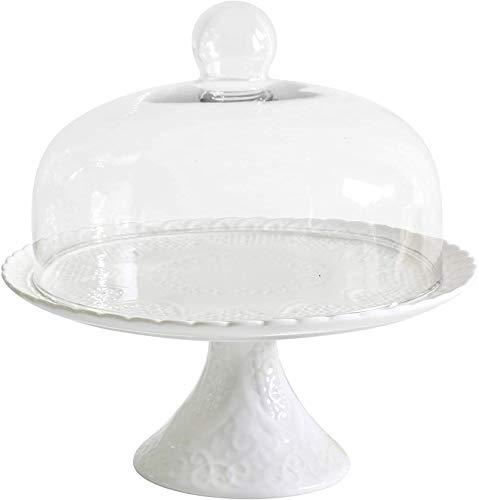 YBK Tech Strength - Soporte de porcelana para tartas con tapa de cúpula de cristal, color blanco