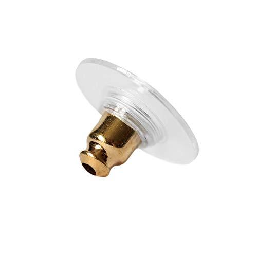10 x Ohrmutter mit Silikonplatte vergoldet Ohrsteckerverschluss