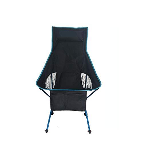 ZHANGJN Chaises de Camping Pliantes ultralégères à Dossier Haut pour extérieur, pêche, Festival, Plage, randonnée, Alliage, Bleu, Size 0.00watts