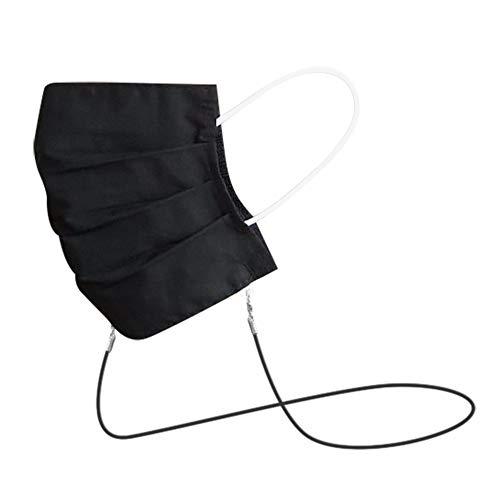 Green Exit® 1er Pack Mundschutz Maske Schwarz Waschbar aus Baumwolle mit Umhängeband, Wiederverwendbar, Mund Nasenschutz zum Umhängen mit Band