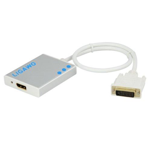 Ligawo 6518920 DVI auf BildschirmPort Videokabel-Adapter (Männlich, Weiblich, Weiß, 1920 x 1200 Pixel), 0,5m Silber