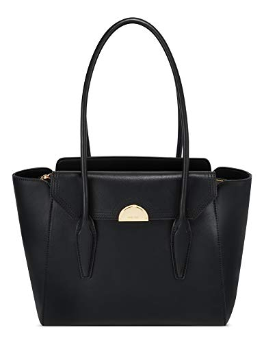 NINE WEST Women's Hattie Shoulder Bag, Black, Larg