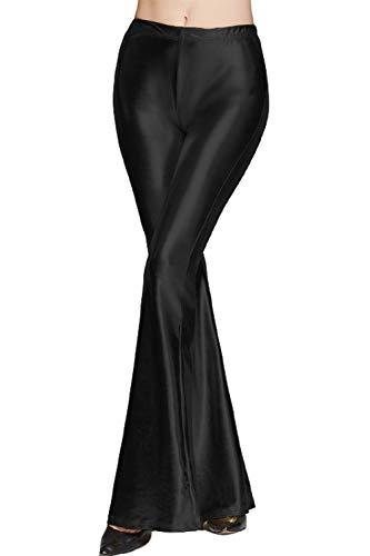 YACUN Leggins Acampanados De Campana Pantalones Largos Palazzo para Mujer Negro XXL