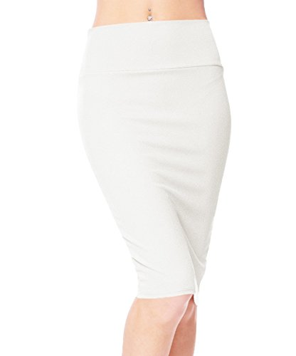 Urbancoco Damen Bleistift Rock Kurz Hohe taille Stretch Business Rock (L, weiß)