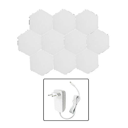 Fdit DIY zeshoekige led-nachtlamplampen, touch-gevoelige modulaire lampen, decoratieve wandhouder, lamp, creatief kwantum verlichtingsset voor thuis, slaapkamer, woonkamer, meermarage (EU-10#)