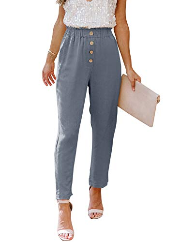 NIMIN Work Pants for Women High Waisted Summer Beach Paper Bag Pants Comfy Cotton Slacks Business Casual Pants with Pockets Blue Grey Medium