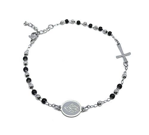 DRG Gioielli - Pulsera de acero rosario negro y plata para hombre y mujer, ajustable a masculina, 316L, sencilla perlas