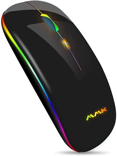 MMK ワイヤレスマウス Bluetooth 無線マウス 超薄型 静音 七色LEDライト 小型 USB充電式 2.4GHz 高精度 省エネモード 800/1200/1600DPI 持ち運び便利 Mac/Windows/Surface/Microsoft Proに対応(2.4GHz, 黒)