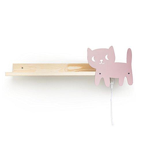 Julica Design Kinder Bücherregal mit Wandlampe | Motiv: Katze (Rosa) - Mädchen
