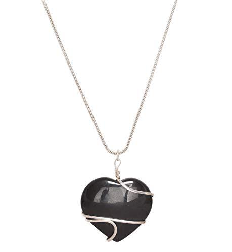 Blessfull Healing Reiki Energía espiritual Medallón de piedras preciosas Joyas Forma de corazón Turmalina negra Piedra Alambre Wrap Collar Colgante